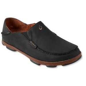 Olakai Moloa Black Nubuck Leather Slip-On Shoes